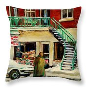 Snowing At The Five And Dime Throw Pillow