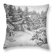 Snowing At The Forest Throw Pillow