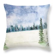 Snowing In Christmas Throw Pillow