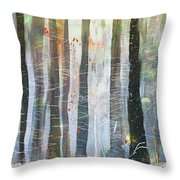 Snowing In The Ice Forest Throw Pillow