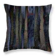 Snowing In The Ice Forest At Night Throw Pillow