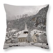 Snowing In The Valley Throw Pillow