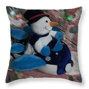 Snowman And His Speeding Plane Throw Pillow