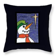 Snowman And Star Throw Pillow