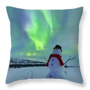 Snowman And The Aurora Throw Pillow