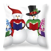 Snowman Christmas Carolers Illustration Throw Pillow