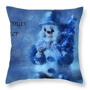 Snowman Christmas Cheer Photo Art 01 Throw Pillow