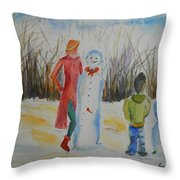 Snowman Competition Throw Pillow