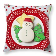 Snowman Cookie Plate Throw Pillow