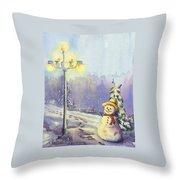 Snowman Enyoying The Light Throw Pillow