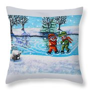 Snowman Friends Ice Skating  P2 Throw Pillow