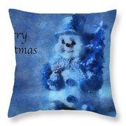 Snowman Merry Christmas Photo Art 01 Throw Pillow