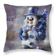 Snowman Peace Photo Art 01 Throw Pillow