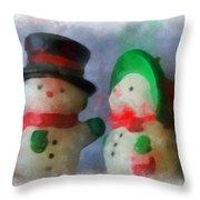 Snowman Photo Art 09 Throw Pillow