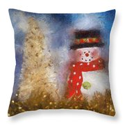 Snowman Photo Art 14 Throw Pillow