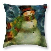 Snowman Photo Art 16 Throw Pillow