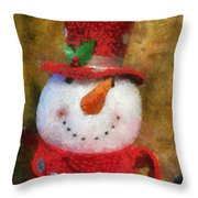 Snowman Photo Art 19 Throw Pillow