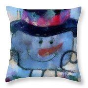 Snowman Photo Art 34 Throw Pillow