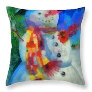 Snowman Photo Art 53 Throw Pillow