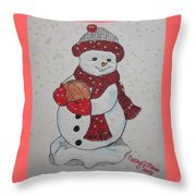Snowman Playing Basketball Throw Pillow