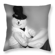 Snowman Playing The Piano In Bw Throw Pillow