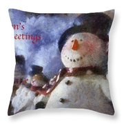 Snowman Season Greetings Photo Art 01 Throw Pillow