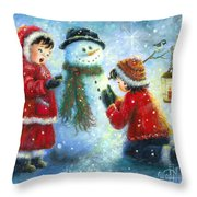 Snowman Song Throw Pillow