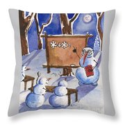 Snowman University Throw Pillow