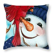 Snowman W/ Cardinal Visitor Throw Pillow