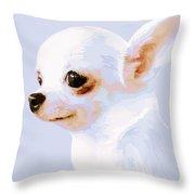 Snowman - White Chihuahua Throw Pillow