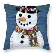 Snowman Winter Fun License Plate Art Throw Pillow