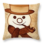 Snowman With Pipe And Topper Original Coffee Painting Throw Pillow