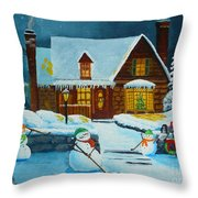 Snowmans Hockey Throw Pillow