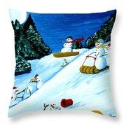 Snowmans Winter Sports Throw Pillow
