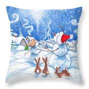 Snowmen And Christmas Star Throw Pillow