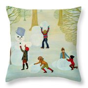 Snowmen Throw Pillow by Ditz