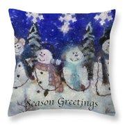 Snowmen Season Greetings Photo Art Throw Pillow