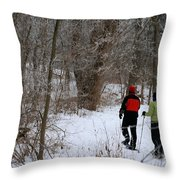 Snowshoeing In The Park Throw Pillow