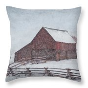 Snowstorm At The Ranch 2 Throw Pillow