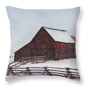 Snowstorm At The Ranch Throw Pillow