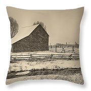 Snowstorm At The Ranch Sepia Throw Pillow
