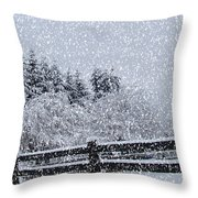 Snowstorm Coming Throw Pillow by Beverly Guilliams
