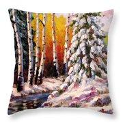 Snowy Banks Throw Pillow