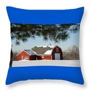 Snowy Barn-0087 Throw Pillow