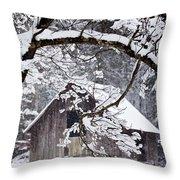 Snowy Barn 2 Throw Pillow