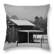 Snowy Barn Bw Throw Pillow