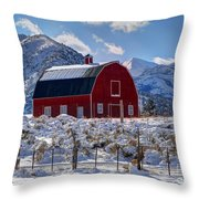 Snowy Barn In The Mountains - Utah Throw Pillow