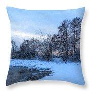 Snowy Beach Impressions Throw Pillow