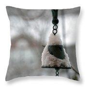 Snowy Bell Throw Pillow