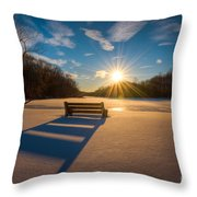 Snowy Bench Throw Pillow